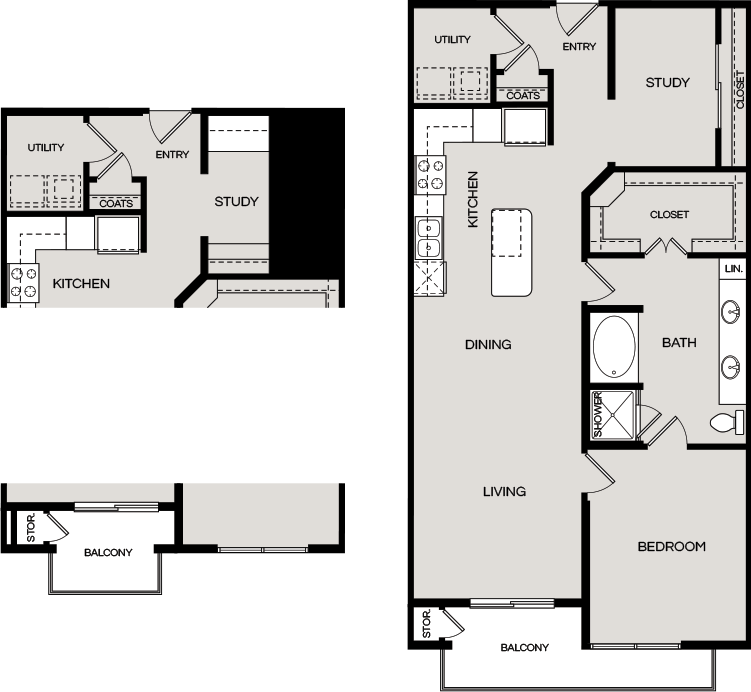 1,022 sq. ft. A6.1 floor plan