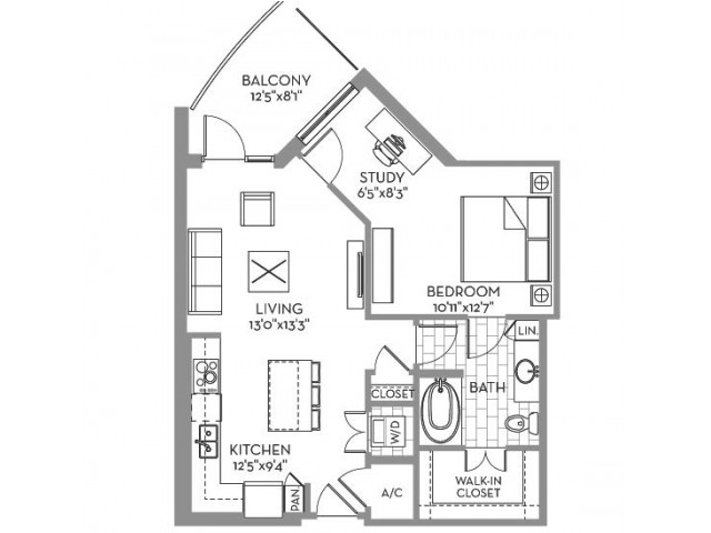775 sq. ft. Royal(A.7) floor plan