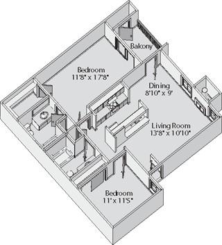 950 sq. ft. CARLISLE floor plan