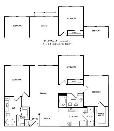 1,281 sq. ft. CE2 floor plan