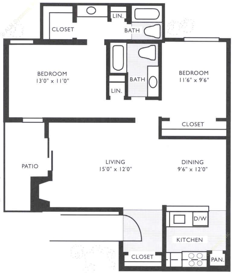 922 sq. ft. B2 floor plan