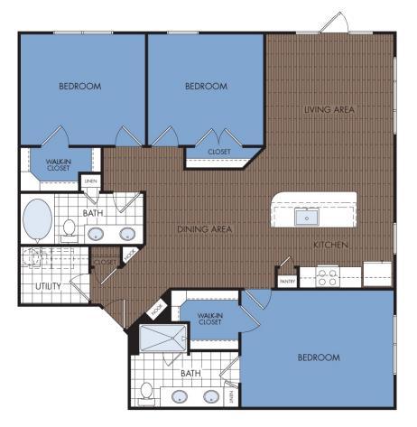 1,452 sq. ft. D1 floor plan