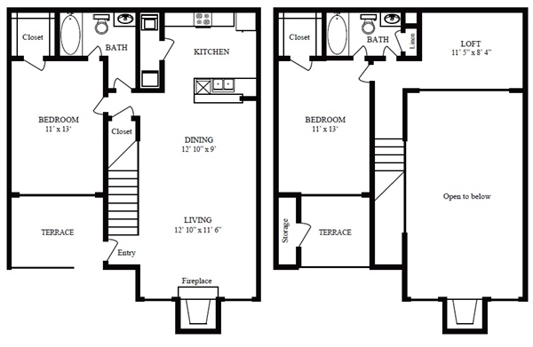 1,121 sq. ft. D/Freeport Beach floor plan
