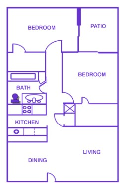 870 sq. ft. to 896 sq. ft. H/60% floor plan