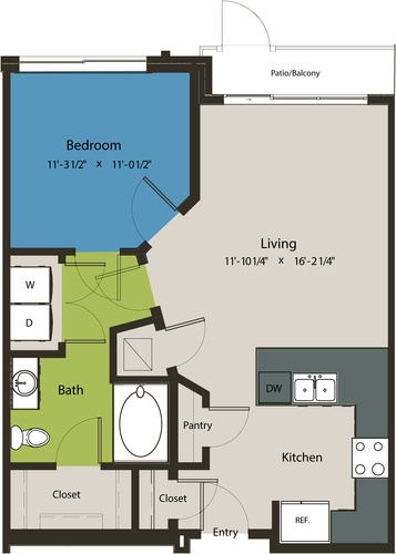 703 sq. ft. A1K floor plan
