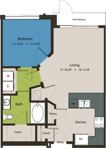 703 sq. ft. A1K floor plan