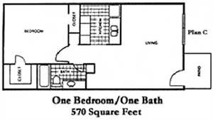570 sq. ft. C floor plan