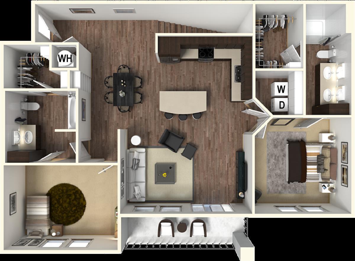 1,328 sq. ft. B3B floor plan