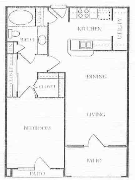691 sq. ft. A1/A2 floor plan