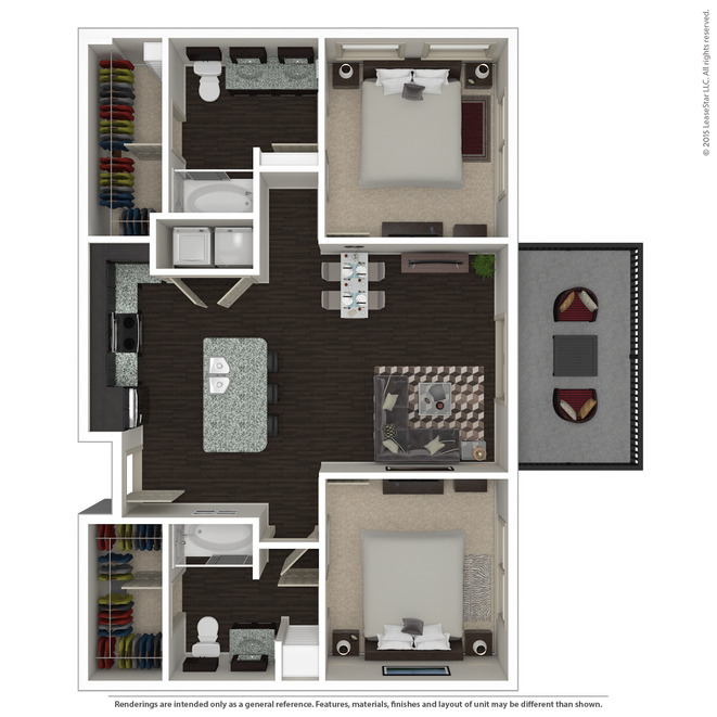 1,003 sq. ft. B1.1 floor plan