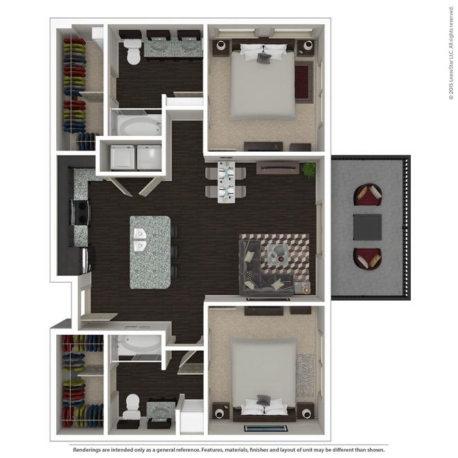 1,003 sq. ft. B1.1 floor plan