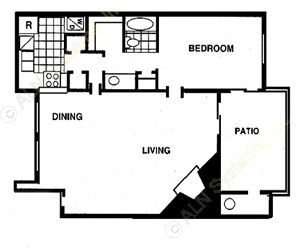 720 sq. ft. C floor plan