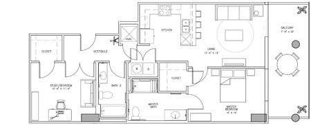 1,149 sq. ft. X floor plan