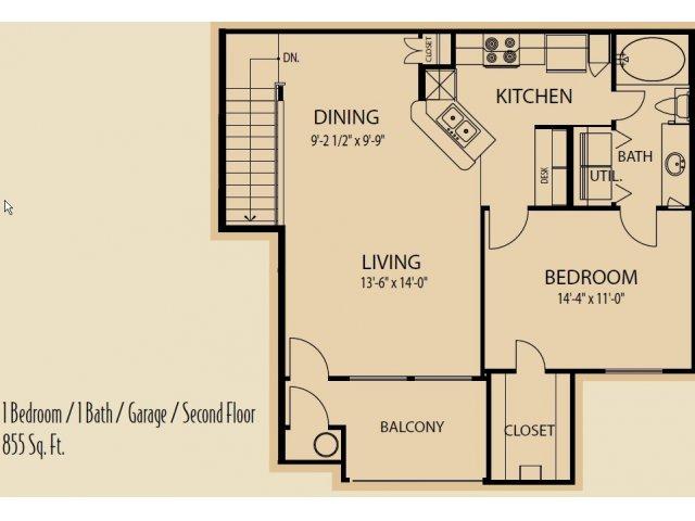 855 sq. ft. A5 floor plan