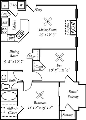 918 sq. ft. Zinfandel floor plan