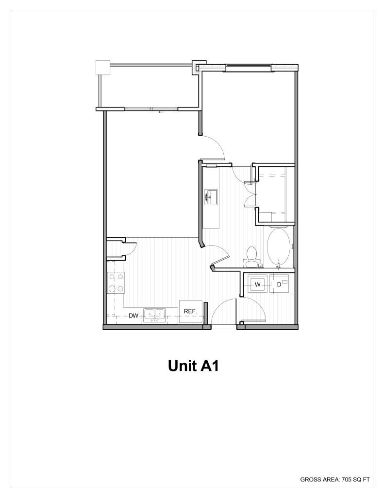 650 sq. ft. to 700 sq. ft. A1 floor plan