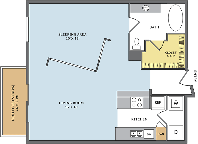 757 sq. ft. 11C floor plan