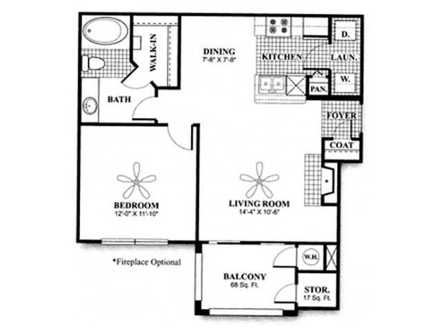 692 sq. ft. to 730 sq. ft. A1 floor plan