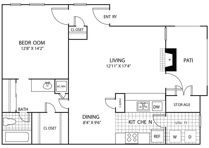 790 sq. ft. A2 floor plan