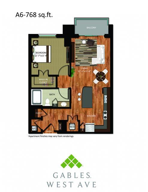 768 sq. ft. DA6 floor plan