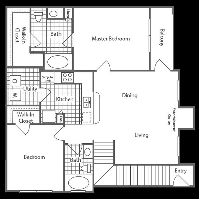 1,097 sq. ft. Halidan floor plan