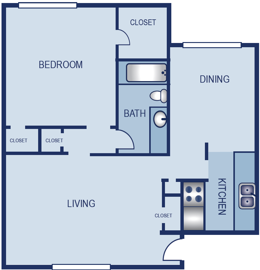 748 sq. ft. A5 floor plan