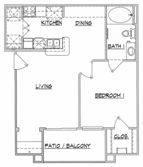 654 sq. ft. Homestead floor plan