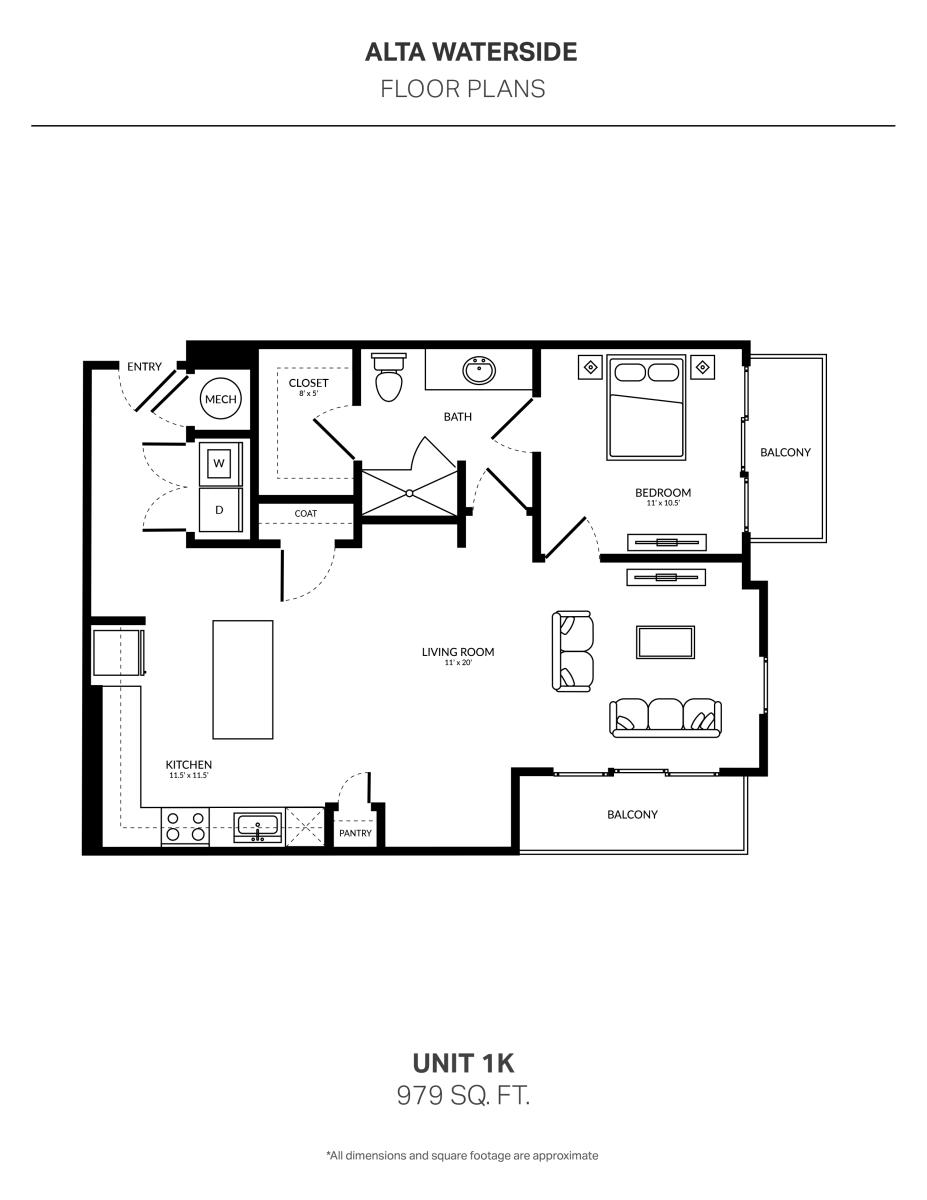 979 sq. ft. 1K floor plan