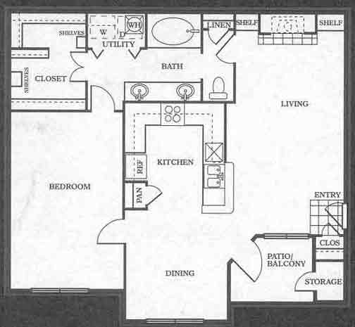 908 sq. ft. A6 floor plan