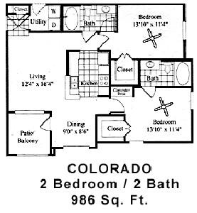 986 sq. ft. Colorado floor plan