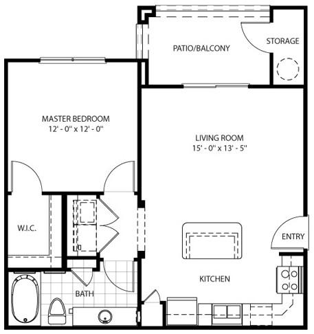 656 sq. ft. Santa Fe floor plan