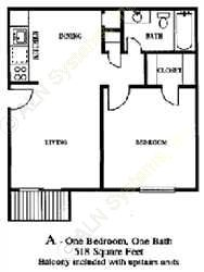 518 sq. ft. Robin floor plan