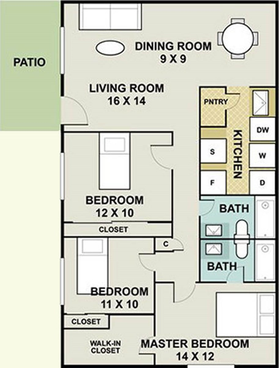 1,231 sq. ft. Jewel/Ph II floor plan