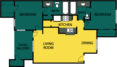 938 sq. ft. Acclaim floor plan