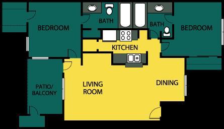 938 sq. ft. Acclaim floor plan
