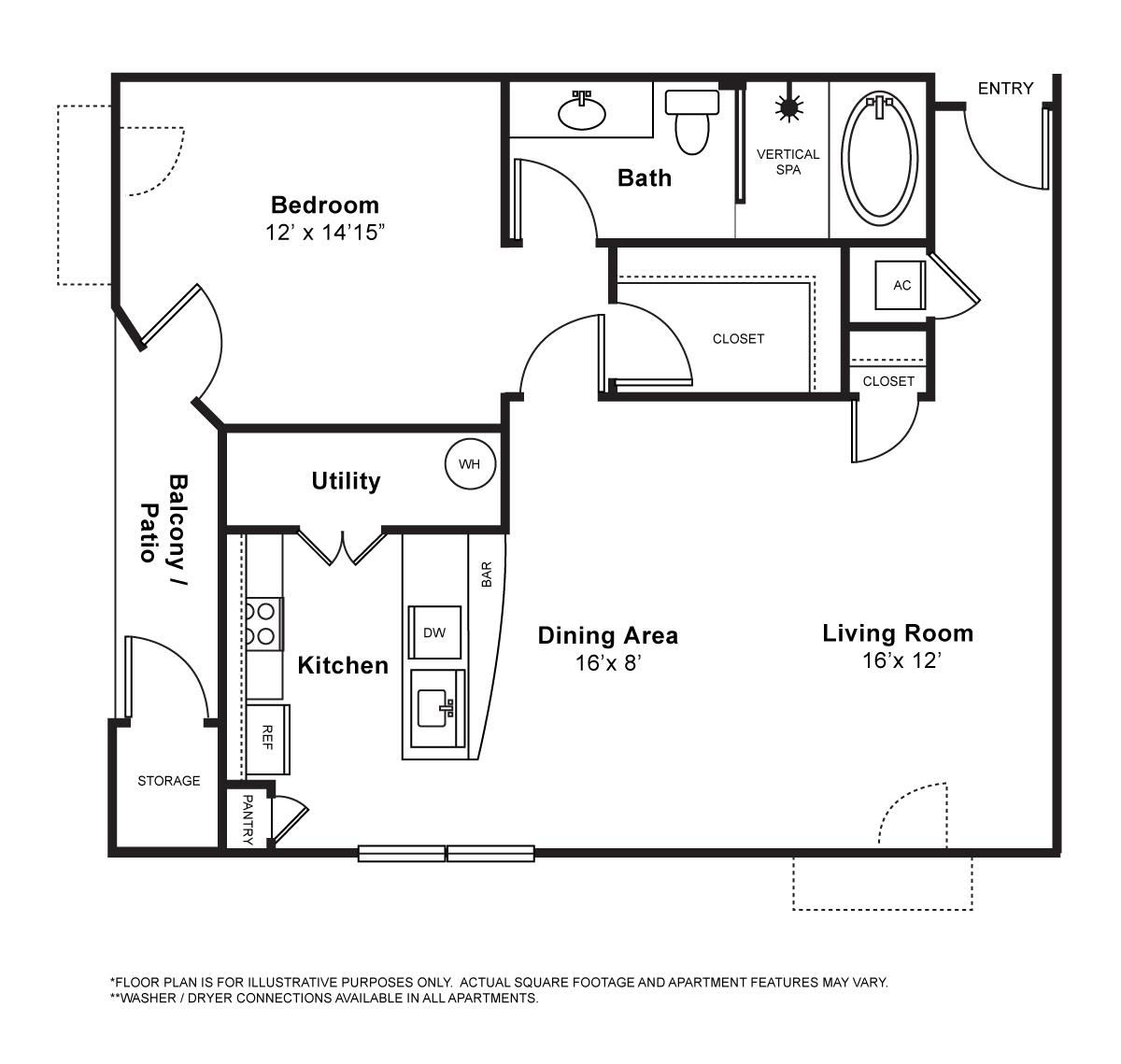 867 sq. ft. Bordeaux floor plan