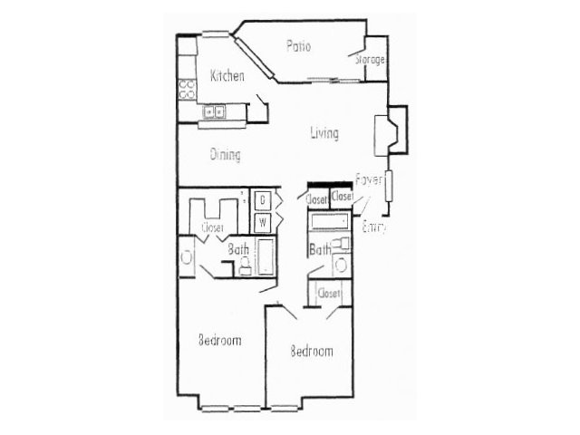 1,019 sq. ft. B1 floor plan