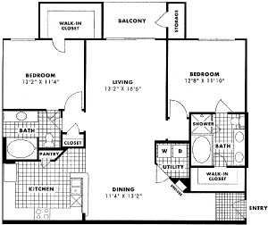 1,127 sq. ft. Jefferson floor plan