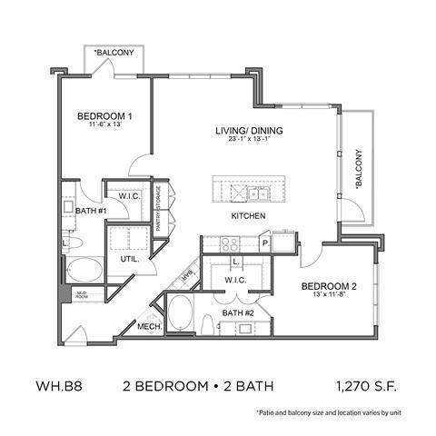 1,270 sq. ft. B8 floor plan