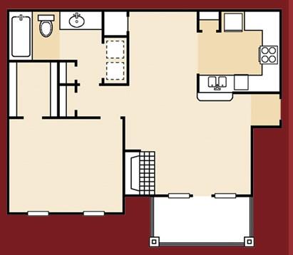 718 sq. ft. A3GR floor plan