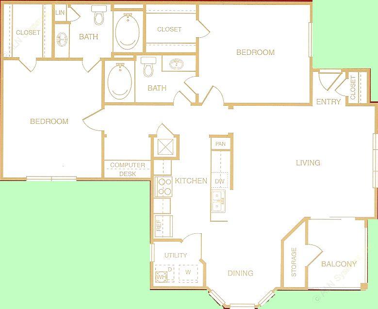 1,138 sq. ft. to 1,215 sq. ft. Rio Grande floor plan