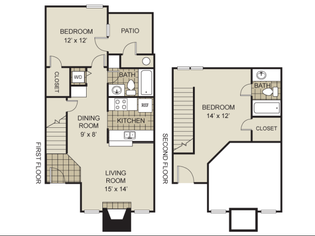 999 sq. ft. B3-A floor plan