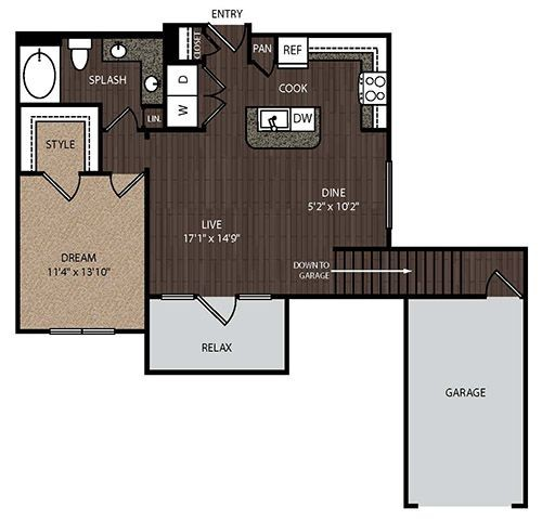778 sq. ft. to 809 sq. ft. A3A 3rd floor plan