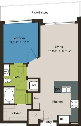 706 sq. ft. A8E-A floor plan