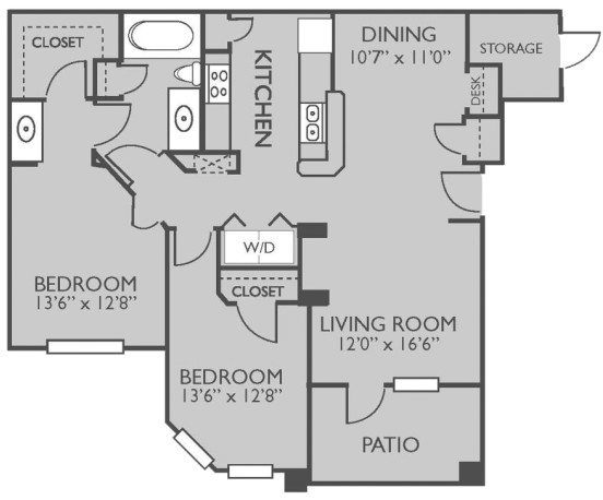 963 sq. ft. HILTON HEAD floor plan
