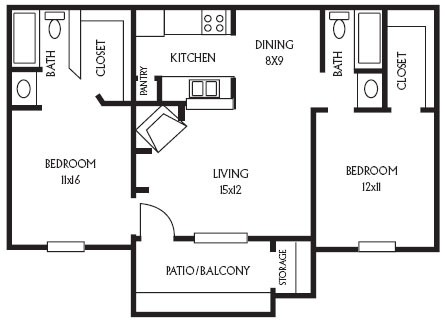 884 sq. ft. B6 floor plan