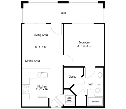 529 sq. ft. to 860 sq. ft. 4A1 floor plan