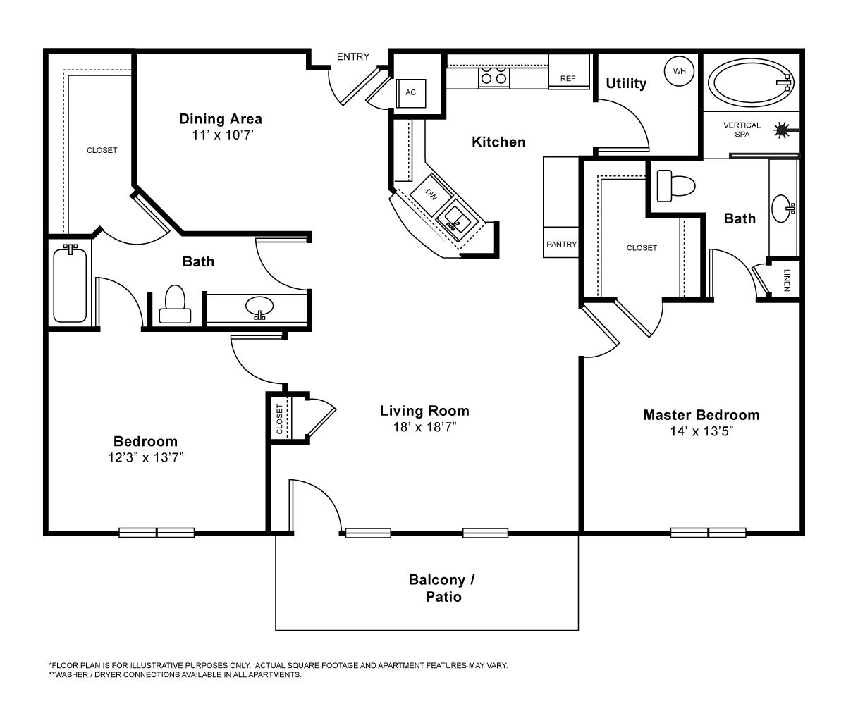 1,337 sq. ft. Chateaux floor plan