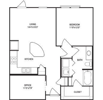 803 sq. ft. floor plan
