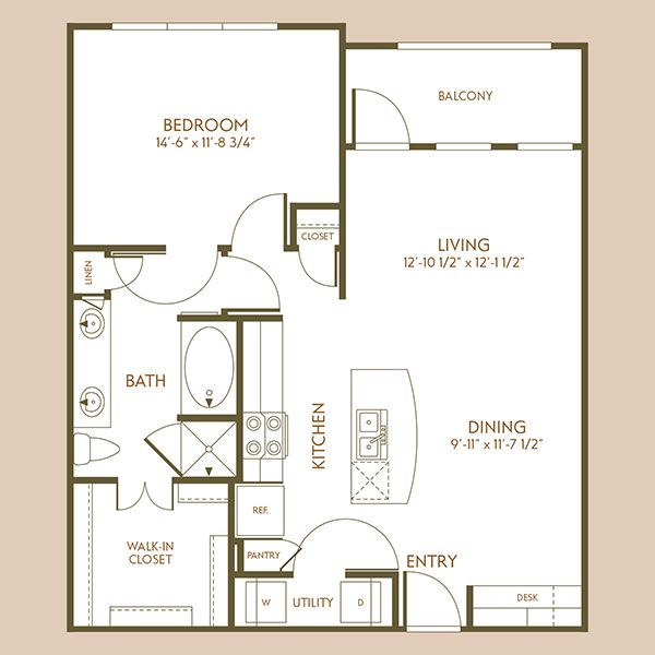 847 sq. ft. A7 floor plan
